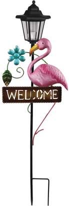 "Flamingo Solar Powered ""Welcome"" Sign Garden Stake"