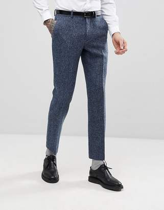 Asos DESIGN Slim Suit Pants in 100% Wool Harris Tweed In Blue Mini Check