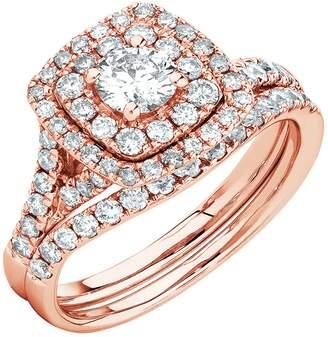 Panache Exports 14k Rose Gold Round Cut Simulated Diamond Double Halo Bridal Ring Set 5.5