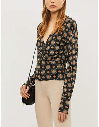 Free People Ladies Black Sydney'S V-Neck Printed Jersey Top