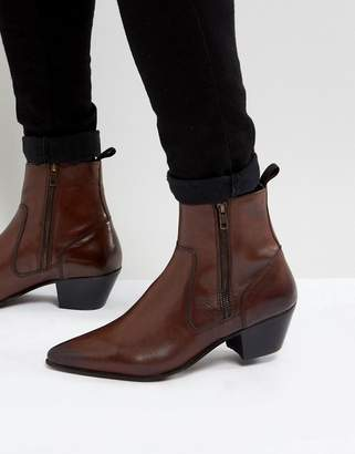 Asos Design DESIGN cuban heel western boots With in brown leather