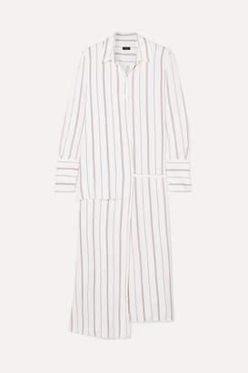 Joseph Claudi Asymmetric Striped Poplin Wrap Dress - White