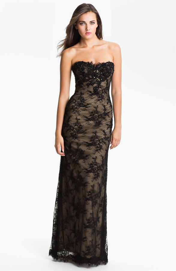 La Femme Strapless Lace Overlay Column Gown
