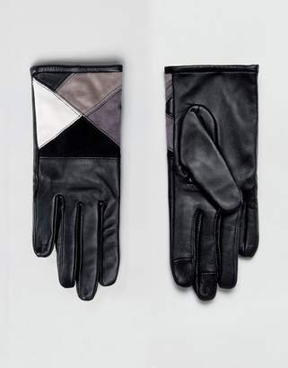 Asos Leather & Suede mix Touch Screen Gloves In Mono