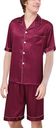 f27879c991 Yanqinger Mens Luxury Polyester Pajamas Short Button-Down Silk Sleepwear PJ  Set
