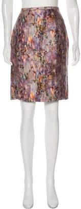 Nina Ricci Linen & Silk-Blend Abstract Print Knee-Length Skirt