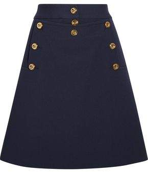 Michael Kors Embellished Wool-Crepe Mini Skirt