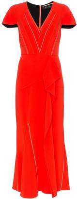 Roland Mouret Bates stretch V-neck ruffle detail dress
