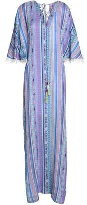 Matthew Williamson Lace-Trimmed Printed Silk Coverup
