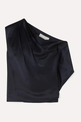 Mason by Michelle Mason One-shoulder Draped Silk-charmeuse Top - Midnight blue