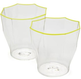 Murano Campbell Rey Campbell-rey - Set Of 2 Rosanna Stripe Glasses - Yellow