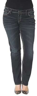Silver Jeans Women's Plus-Size Suki Mid Rise Straight Leg Jean $98 thestylecure.com