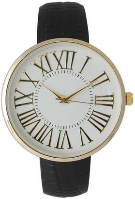 OLIVIA PRATT Olivia Pratt Womens Gold-Tone White Dial Black Croc-Embossed Leather Strap Watch 14328