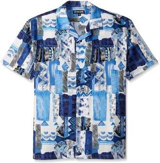 Stacy Adams Men's Big-Tall Linen Blend Print Short Sleeve Shirt