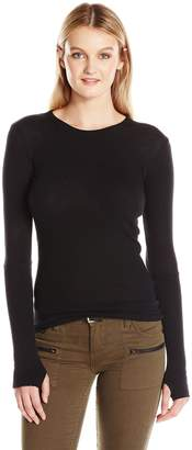Enza Costa Women's Cmere Long Sleeve Cuffed Crew with Thumbhole