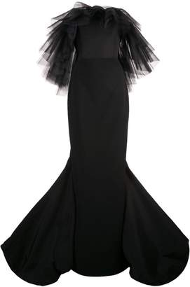 Christian Siriano ruffled tulle detail gown