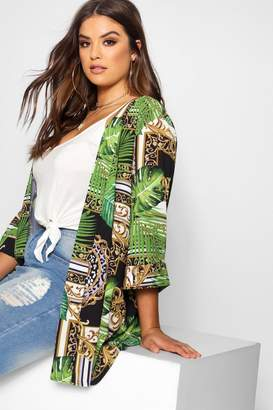 boohoo Plus Jungle Snake Longline Kimono