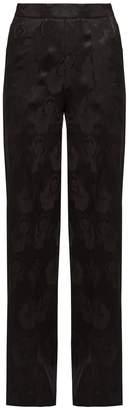 Etro Palazzo poppy-jacquard wide-leg silk trousers