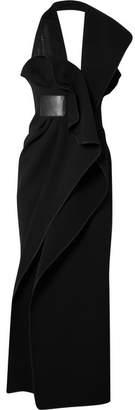 Maticevski Todora Chiffon-paneled Ruffled Cady Halterneck Gown - Black