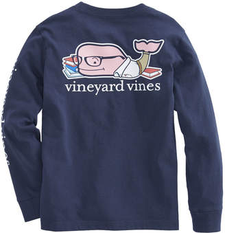 Vineyard Vines Boys Long-Sleeve Back To School Whale Pocket T-Shirt