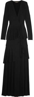 Roberto Cavalli Tiered Stretch-Jersey Wrap Gown