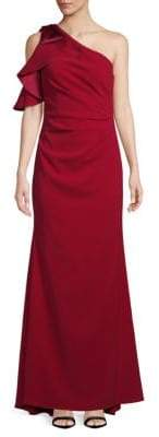 Carmen Marc Valvo Pleated Crepe One-Shoulder Gown