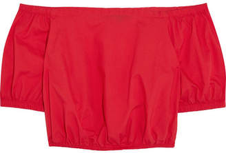 Madewell - Hibiscus Off-the-shoulder Cotton-voile Top - Tomato red $50 thestylecure.com