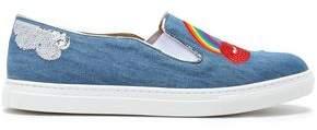 Charlotte Olympia Alex Embellished Denim Slip-On Sneakers