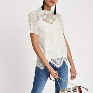 River Island White lace beaded high neck top
