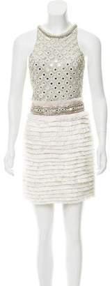 Amen Embellished Fringe Cocktail Dress