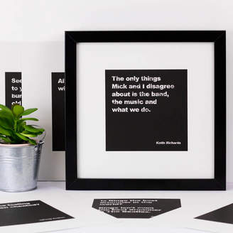 Coulson Macleod Six Unframed Black And White Music Quote Prints