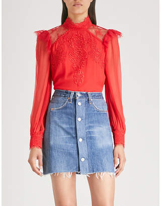 The Kooples Lace-trimmed crepe top