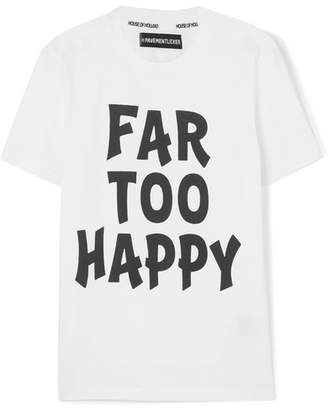 House of Holland Far Too Happy Printed Cotton-jersey T-shirt - White
