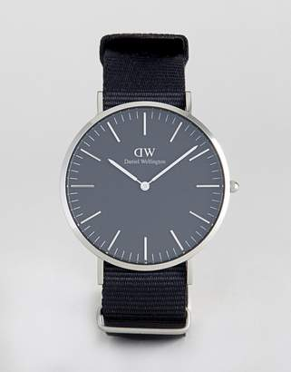 Daniel Wellington Classic Black Cornwall Nato Watch With Silver Dial 40mm