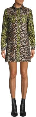 Ganni Leopard-Print Cotton Shirtdress