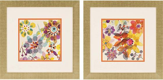 Candy Flowers Framed Wall Art - Set of 2