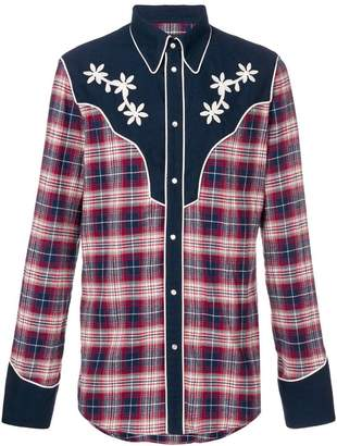 DSQUARED2 plaid floral embroidered shirt