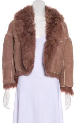 Bottega Veneta Shearling Lined Suede Jacket