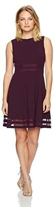 Calvin Klein Women's Petite Round Neck Fit and Flare Dress with Sheer Inserts