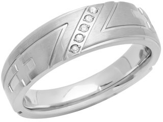 Generic Men's Stainless Steel Diamond Accent Tapered Cross Wedding Band - Mens Ring