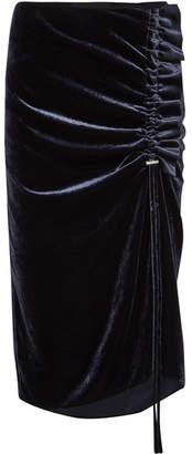 Cédric Charlier Gathered Velvet Midi Skirt - Midnight blue