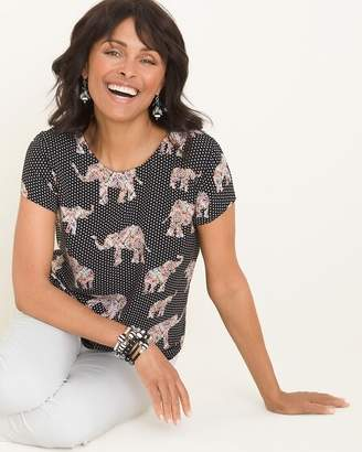 Chico's Chicos Reversible Solid to Dot Elephant-Print Tee