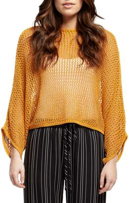 Dex Batwing-Sleeve Perforated Sweater