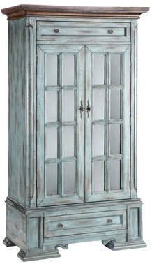 Stein World Painted Treasures 2 Door Moonstone Tall Accent Cabinet