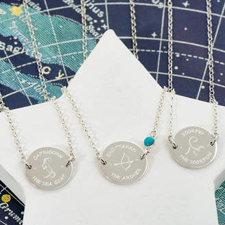 Tales From The Earth Personalised Sterling Silver Zodiac Disc Necklace