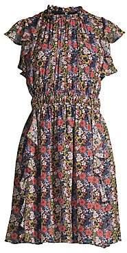Shoshanna Women's Amora Floral Ruffled Silk Dress - Size 0