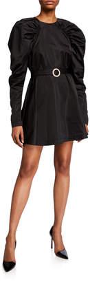 Rotate by Birger Christensen #26 Belted Puff-Sleeve Satin Mini Dress