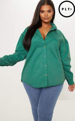 PrettyLittleThing Plus Emerald Green Denim Tortoise Button Puff Sleeve Shirt