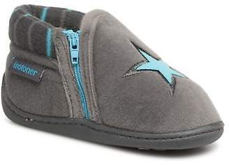 Isotoner Kids's Bottillon Zip Polyvelours Slippers in Grey
