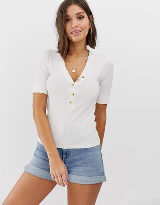 Abercrombie & Fitch henley top with button detail